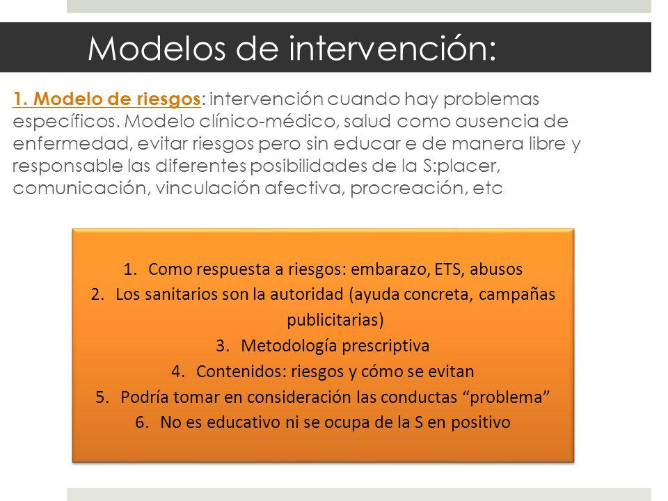 Modelos de intervención: 1. Modelo de riesgos : intervención cuando hay problemas específicos. Modelo clínico-médico, salud como ausencia de enfermeda