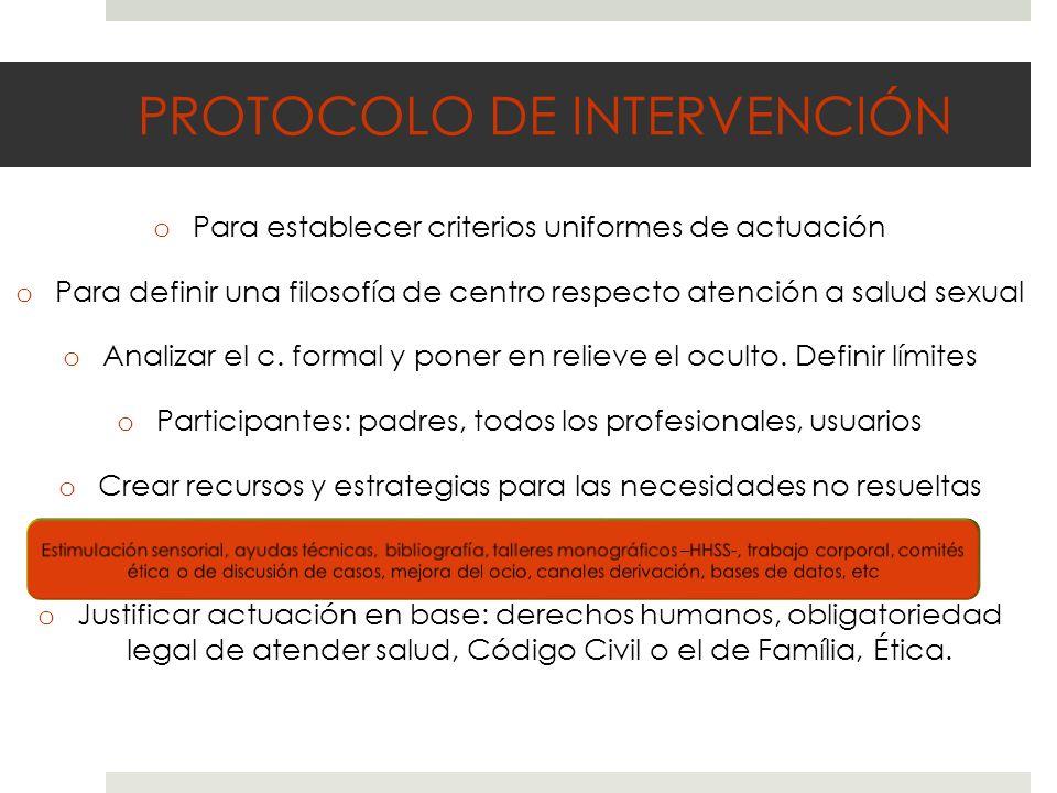 PROTOCOLO DE INTERVENCIÓN oPoPara establecer criterios uniformes de actuación oPoPara definir una filosofía de centro respecto atención a salud sexual