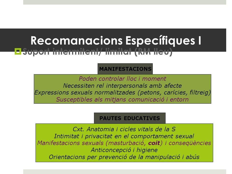 Recomanacions Específiques I Suport intermitent/ limitat (RM lleu) Poden controlar lloc i moment Necessiten rel interpersonals amb afecte Expressions