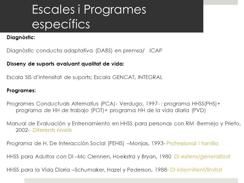 Escales i Programes específics Diagnòstic: Diagnòstic conducta adaptativa (DABS) en premsa/ ICAP Disseny de suports avaluant qualitat de vida: Escala