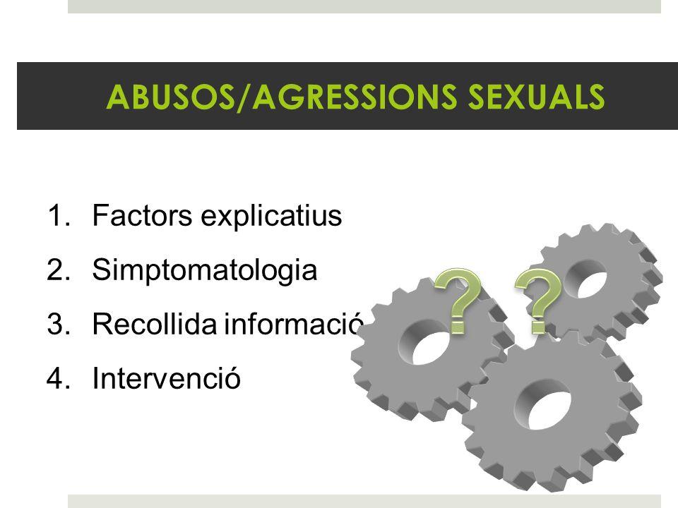ABUSOS/AGRESSIONS SEXUALS 1.Factors explicatius 2.Simptomatologia 3.Recollida informació 4.Intervenció