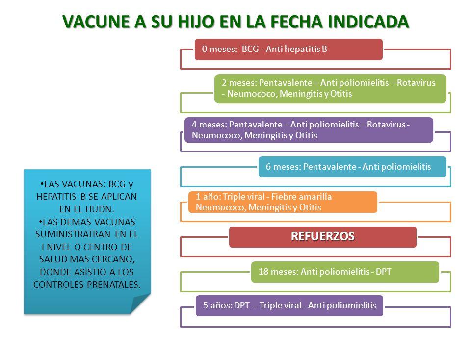 0 meses: BCG - Anti hepatitis B 2 meses: Pentavalente – Anti poliomielitis – Rotavirus - Neumococo, Meningitis y Otitis 4 meses: Pentavalente – Anti p
