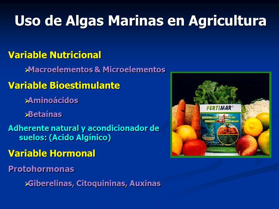 Variable Nutricional Macroelementos & Microelementos Macroelementos & Microelementos Variable Bioestimulante Aminoácidos Aminoácidos Betaínas Betaínas