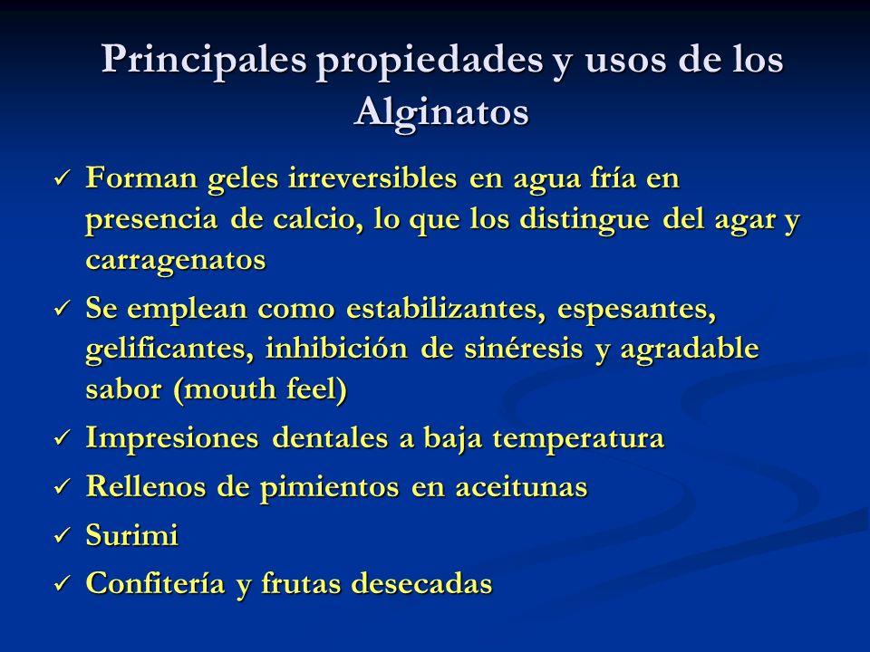 Principales propiedades y usos de los Alginatos Forman geles irreversibles en agua fría en presencia de calcio, lo que los distingue del agar y carrag