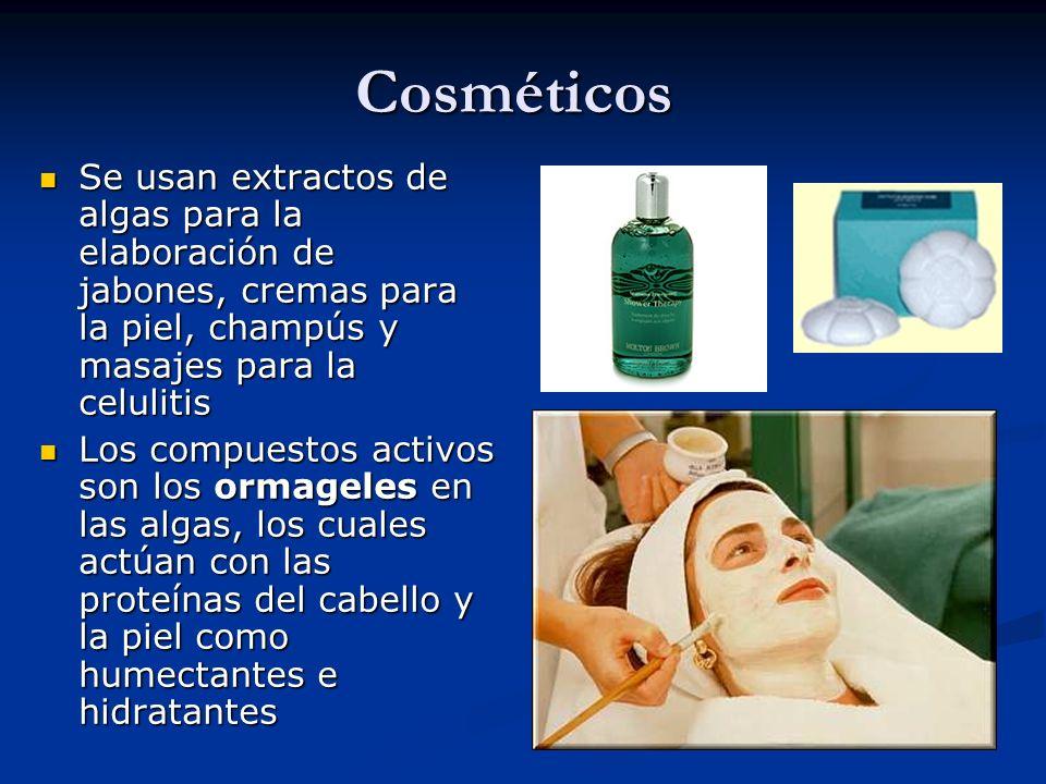 Cosméticos Se usan extractos de algas para la elaboración de jabones, cremas para la piel, champús y masajes para la celulitis Se usan extractos de al