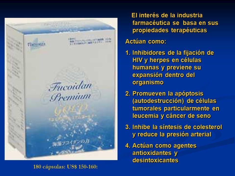 El interés de la industria farmacéutica se basa en sus propiedades terapéuticas Actúan como: 1.Inhibidores de la fijación de HIV y herpes en células h