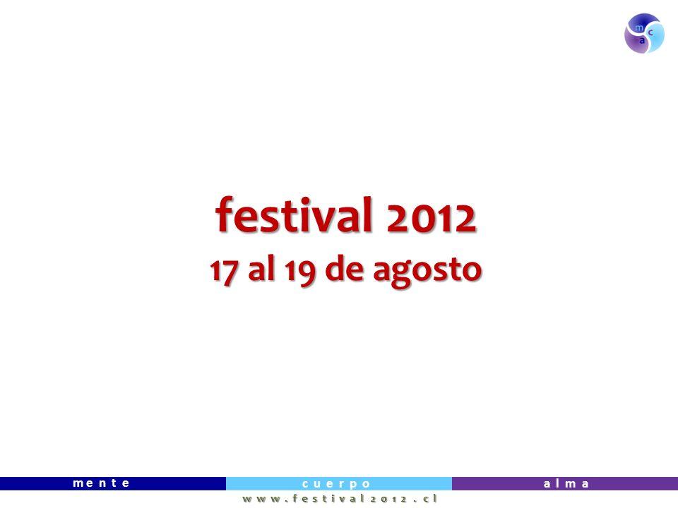 m e n t e c u e r p oa l m a w w w. f e s t i v a l 2 0 1 2. c l festival 2012 17 al 19 de agosto