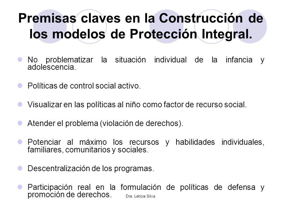 Dra. Leticia Silva Premisas claves en la Construcción de los modelos de Protección Integral. No problematizar la situación individual de la infancia y