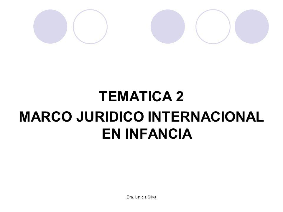 Dra. Leticia Silva TEMATICA 2 MARCO JURIDICO INTERNACIONAL EN INFANCIA