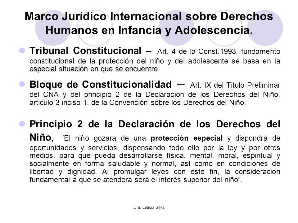 Dra. Leticia Silva Marco Jurídico Internacional sobre Derechos Humanos en Infancia y Adolescencia. especial situación en que se encuentre. Tribunal Co