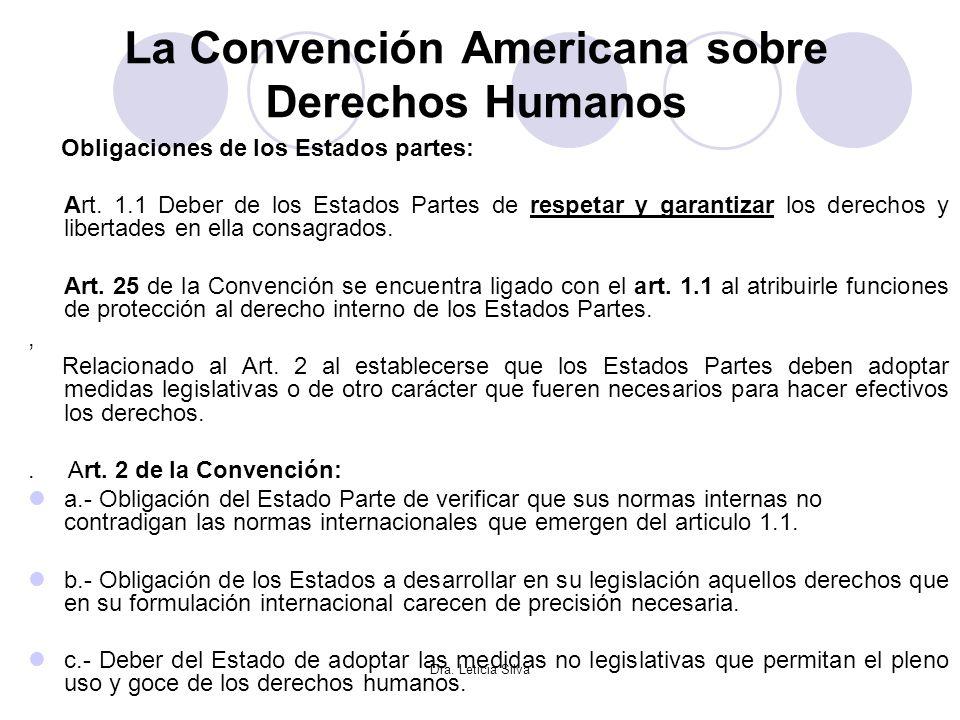 Dra. Leticia Silva La Convención Americana sobre Derechos Humanos Obligaciones de los Estados partes: Art. 1.1 Deber de los Estados Partes de respetar