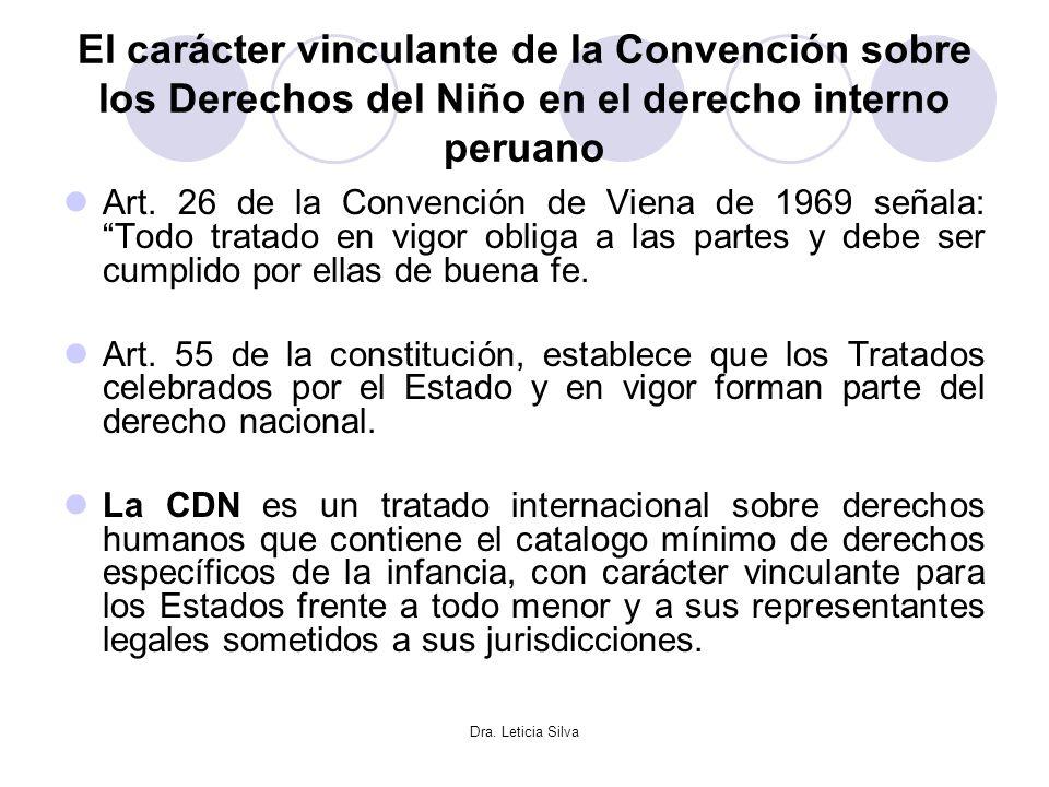 Dra. Leticia Silva El carácter vinculante de la Convención sobre los Derechos del Niño en el derecho interno peruano Art. 26 de la Convención de Viena