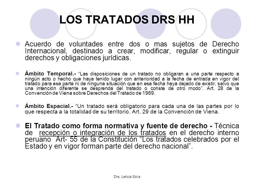 Dra. Leticia Silva LOS TRATADOS DRS HH Acuerdo de voluntades entre dos o mas sujetos de Derecho Internacional, destinado a crear, modificar, regular o