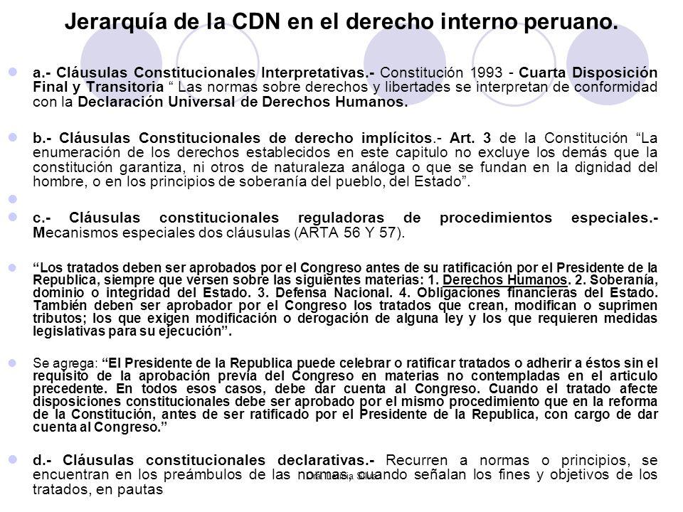 Dra. Leticia Silva Jerarquía de la CDN en el derecho interno peruano. a.- Cláusulas Constitucionales Interpretativas.- Constitución 1993 - Cuarta Disp