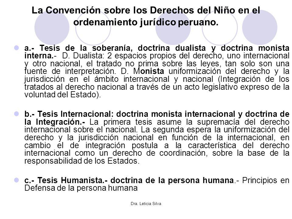 Dra. Leticia Silva La Convención sobre los Derechos del Niño en el ordenamiento jurídico peruano. a.- Tesis de la soberanía, doctrina dualista y doctr