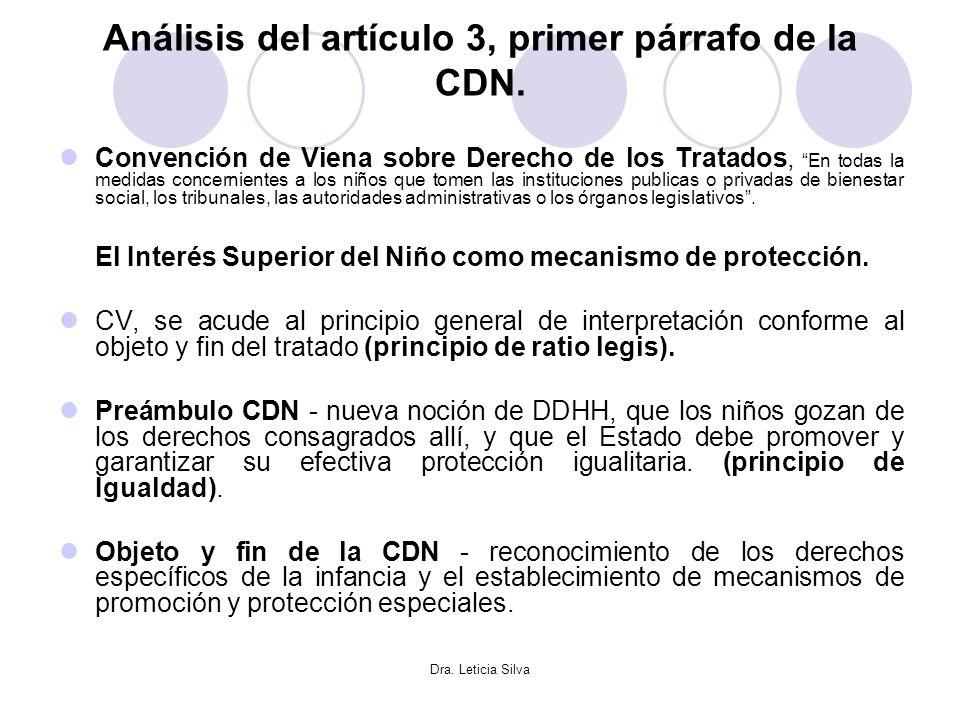 Dra. Leticia Silva Análisis del artículo 3, primer párrafo de la CDN. Convención de Viena sobre Derecho de los Tratados, En todas la medidas concernie
