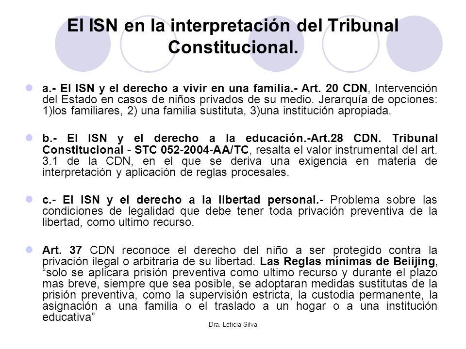 Dra. Leticia Silva El ISN en la interpretación del Tribunal Constitucional. a.- El ISN y el derecho a vivir en una familia.- Art. 20 CDN, Intervención