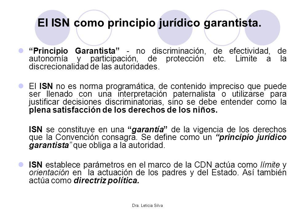 Dra. Leticia Silva El ISN como principio jurídico garantista. Principio Garantista - no discriminación, de efectividad, de autonomía y participación,