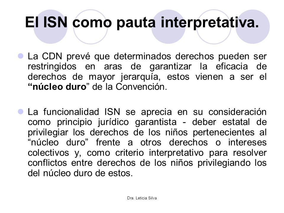 Dra. Leticia Silva El ISN como pauta interpretativa. La CDN prevé que determinados derechos pueden ser restringidos en aras de garantizar la eficacia