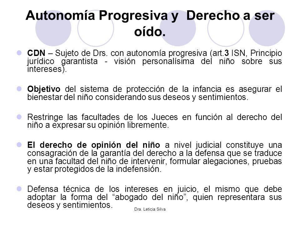 Dra. Leticia Silva Autonomía Progresiva y Derecho a ser oído. CDN – Sujeto de Drs. con autonomía progresiva (art.3 ISN, Principio jurídico garantista
