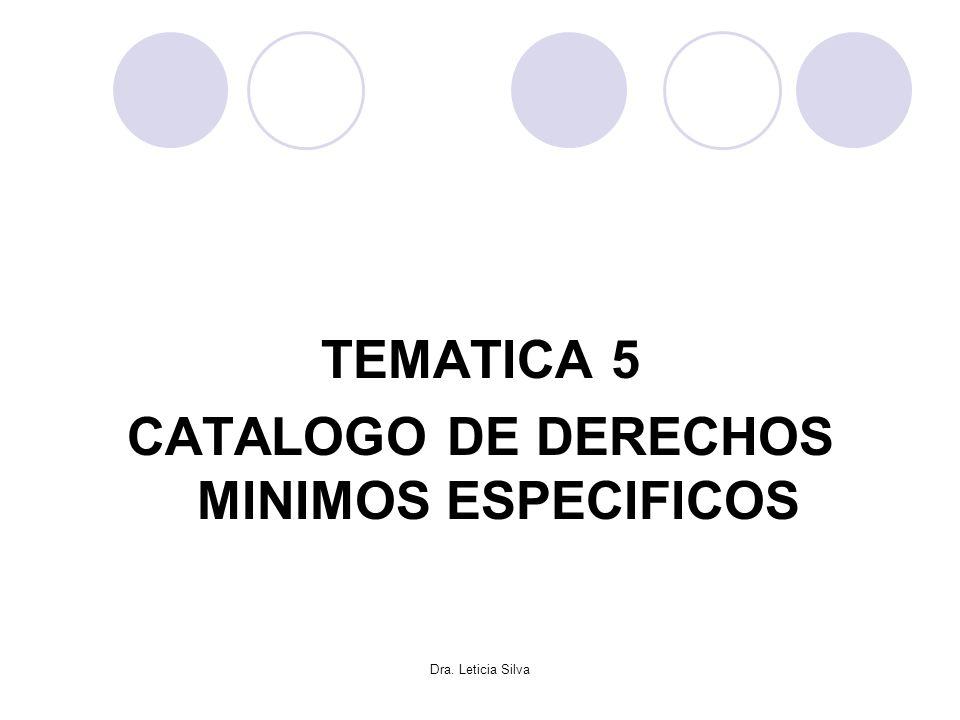Dra. Leticia Silva TEMATICA 5 CATALOGO DE DERECHOS MINIMOS ESPECIFICOS