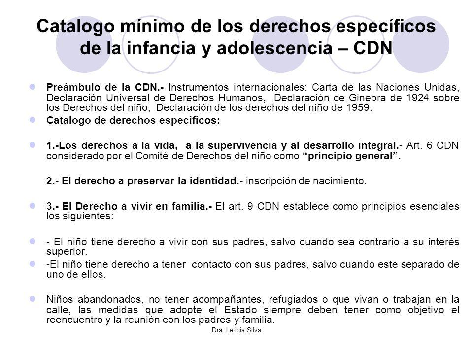Dra. Leticia Silva Catalogo mínimo de los derechos específicos de la infancia y adolescencia – CDN Preámbulo de la CDN.- Instrumentos internacionales: