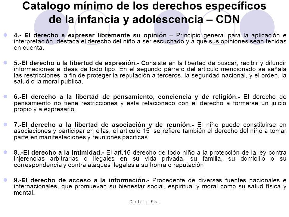 Dra. Leticia Silva Catalogo mínimo de los derechos específicos de la infancia y adolescencia – CDN 4.- El derecho a expresar libremente su opinión – P