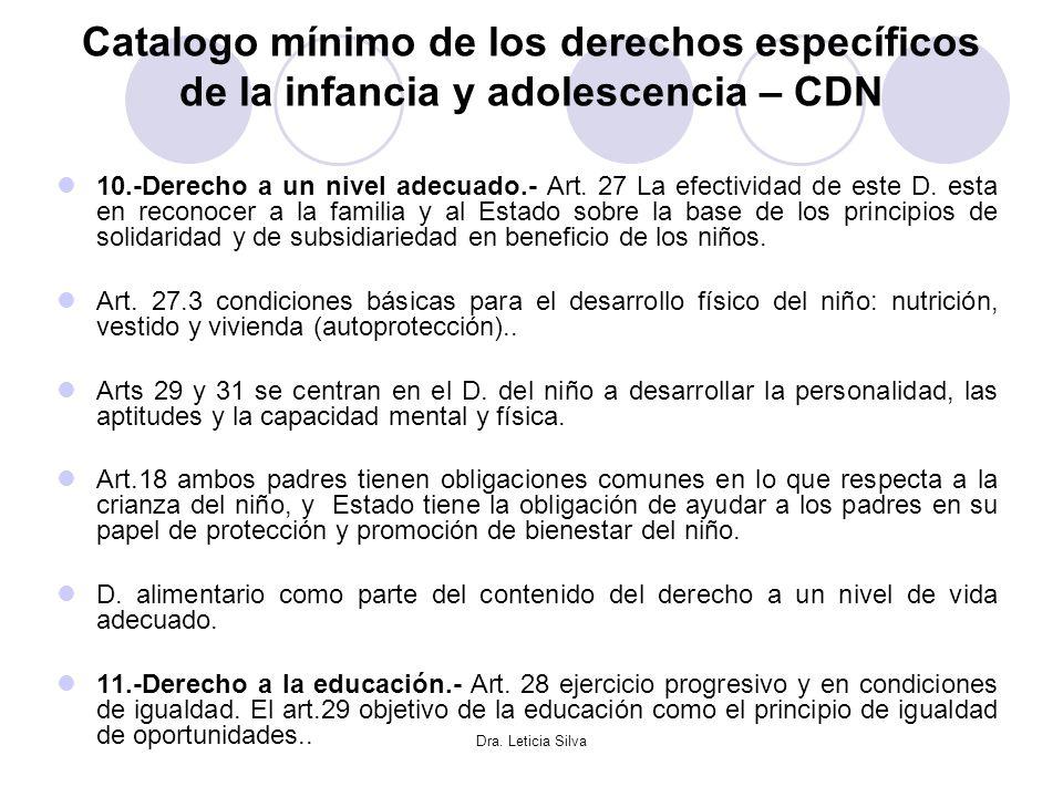 Dra. Leticia Silva Catalogo mínimo de los derechos específicos de la infancia y adolescencia – CDN 10.-Derecho a un nivel adecuado.- Art. 27 La efecti
