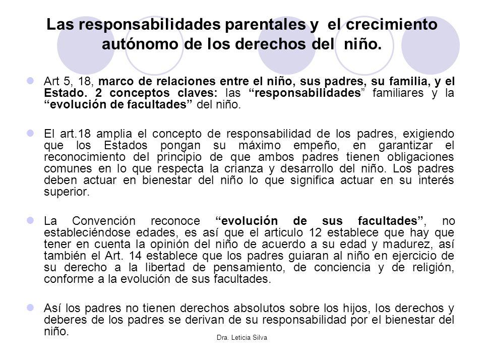 Dra. Leticia Silva Las responsabilidades parentales y el crecimiento autónomo de los derechos del niño. Art 5, 18, marco de relaciones entre el niño,