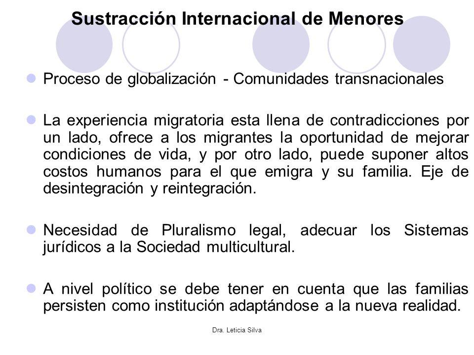 Dra. Leticia Silva Sustracción Internacional de Menores Proceso de globalización - Comunidades transnacionales La experiencia migratoria esta llena de