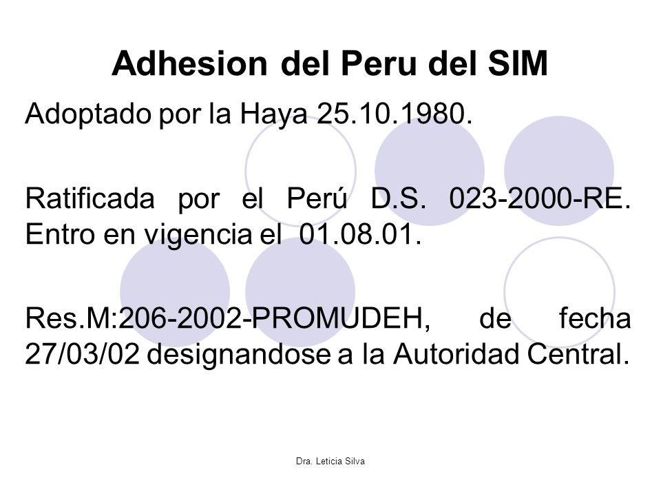 Dra. Leticia Silva Adhesion del Peru del SIM Adoptado por la Haya 25.10.1980. Ratificada por el Perú D.S. 023-2000-RE. Entro en vigencia el 01.08.01.