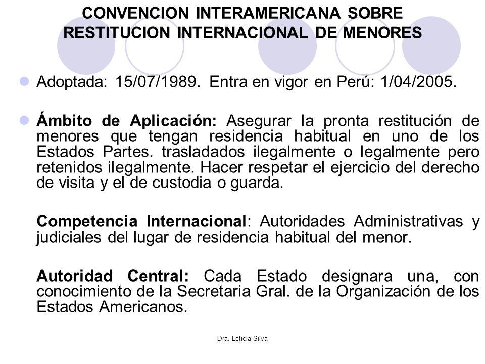 Dra. Leticia Silva CONVENCION INTERAMERICANA SOBRE RESTITUCION INTERNACIONAL DE MENORES Adoptada: 15/07/1989. Entra en vigor en Perú: 1/04/2005. Ámbit