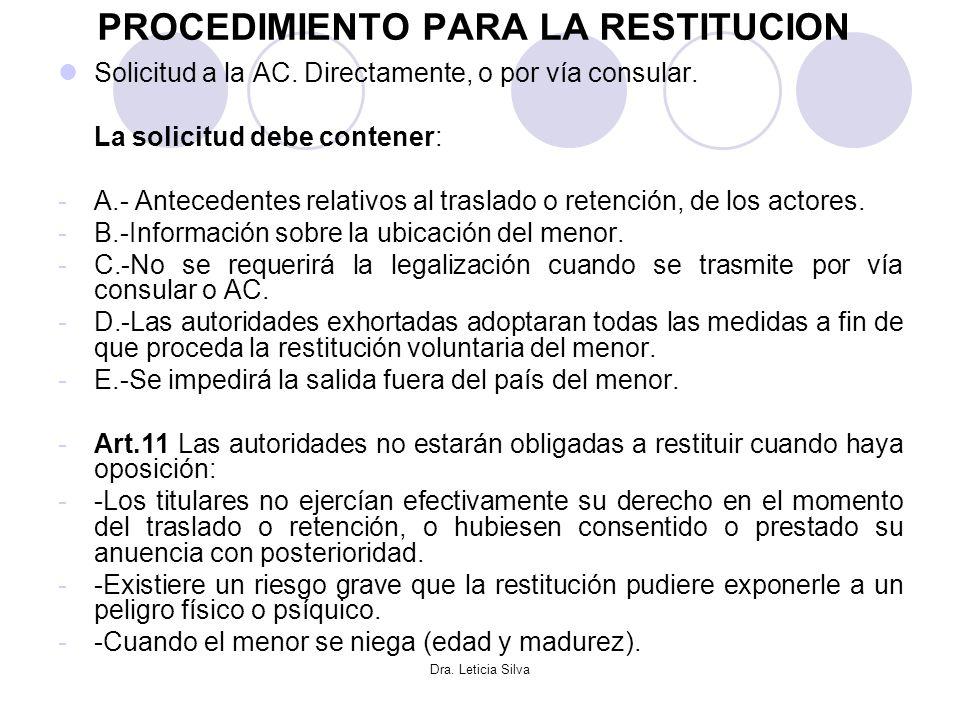 Dra. Leticia Silva PROCEDIMIENTO PARA LA RESTITUCION Solicitud a la AC. Directamente, o por vía consular. La solicitud debe contener: -A.- Antecedente