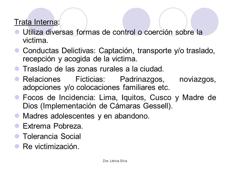 Dra. Leticia Silva Trata Interna: Utiliza diversas formas de control o coerción sobre la victima. Conductas Delictivas: Captación, transporte y/o tras