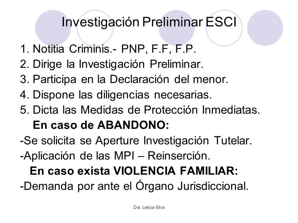 Dra. Leticia Silva Investigación Preliminar ESCI 1. Notitia Criminis.- PNP, F.F, F.P. 2. Dirige la Investigación Preliminar. 3. Participa en la Declar