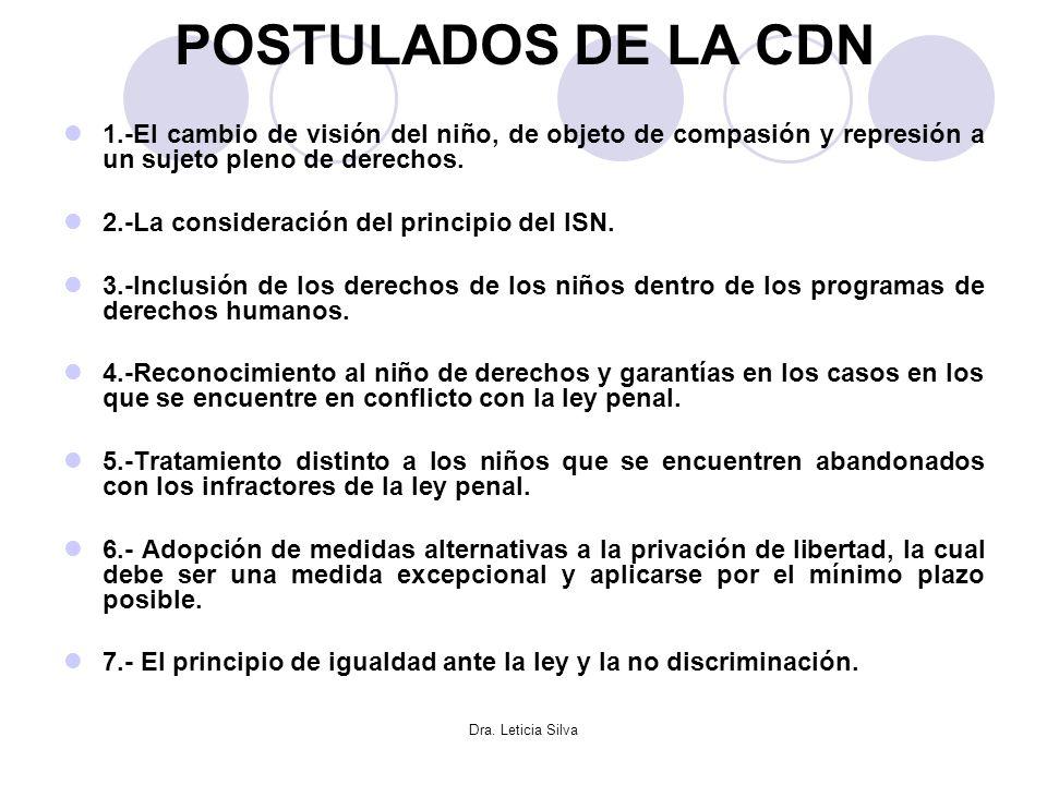 Dra. Leticia Silva POSTULADOS DE LA CDN 1.-El cambio de visión del niño, de objeto de compasión y represión a un sujeto pleno de derechos. 2.-La consi