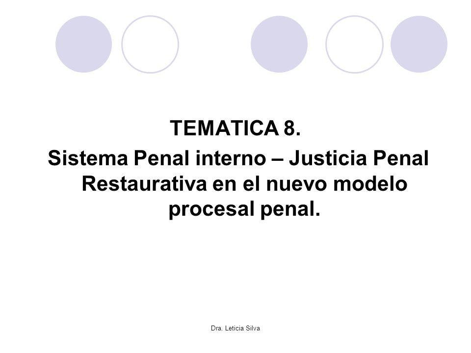 Dra. Leticia Silva TEMATICA 8. Sistema Penal interno – Justicia Penal Restaurativa en el nuevo modelo procesal penal.