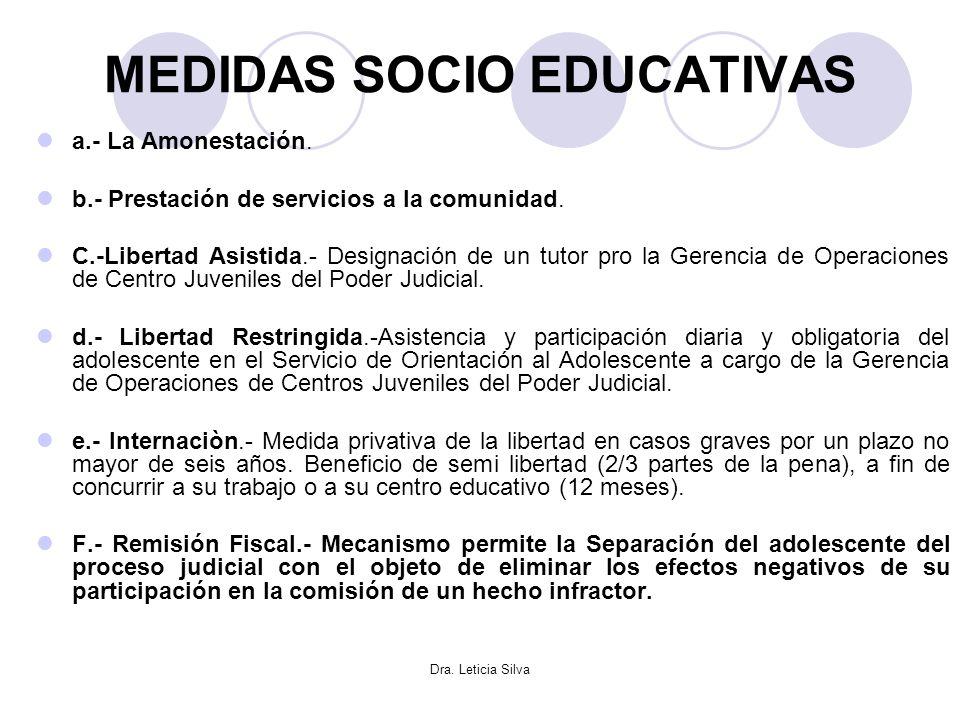 Dra. Leticia Silva MEDIDAS SOCIO EDUCATIVAS a.- La Amonestación. b.- Prestación de servicios a la comunidad. C.-Libertad Asistida.- Designación de un