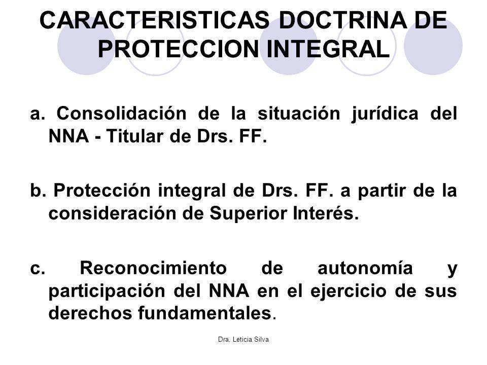 Dra. Leticia Silva CARACTERISTICAS DOCTRINA DE PROTECCION INTEGRAL a. Consolidación de la situación jurídica del NNA - Titular de Drs. FF. b. Protecci
