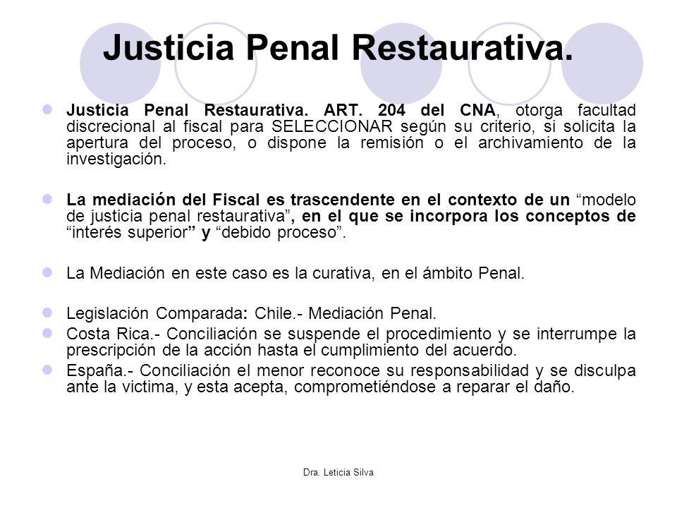 Dra. Leticia Silva Justicia Penal Restaurativa. Justicia Penal Restaurativa. ART. 204 del CNA, otorga facultad discrecional al fiscal para SELECCIONAR
