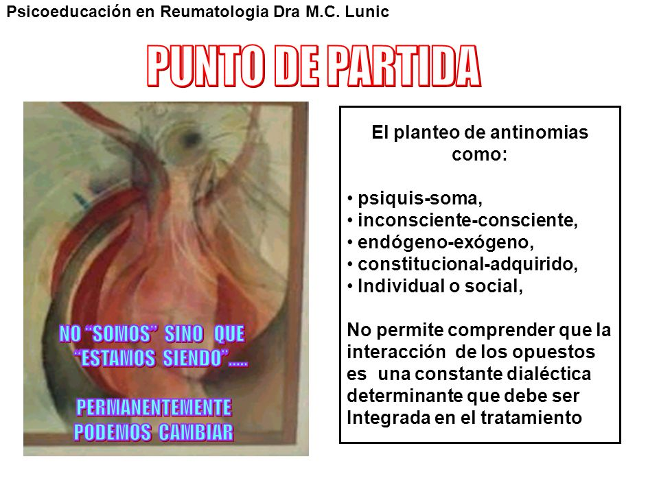 El planteo de antinomias como: psiquis-soma, inconsciente-consciente, endógeno-exógeno, constitucional-adquirido, Individual o social, No permite comp