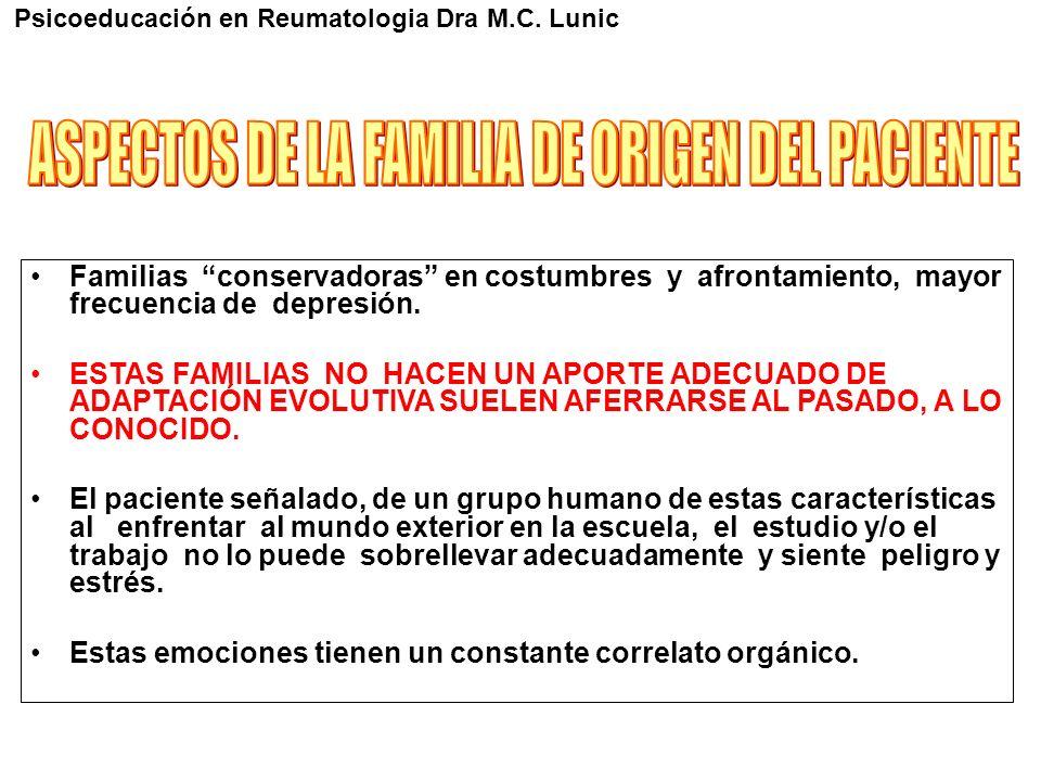 Familias conservadoras en costumbres y afrontamiento, mayor frecuencia de depresión. ESTAS FAMILIAS NO HACEN UN APORTE ADECUADO DE ADAPTACIÓN EVOLUTIV