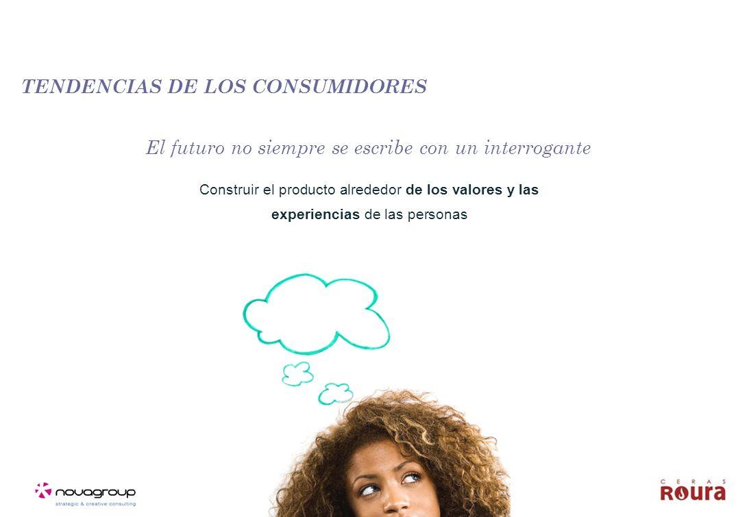TENDENCIAS DE LOS CONSUMIDORES Construir el producto alrededor de los valores y las experiencias de las personas El futuro no siempre se escribe con un interrogante