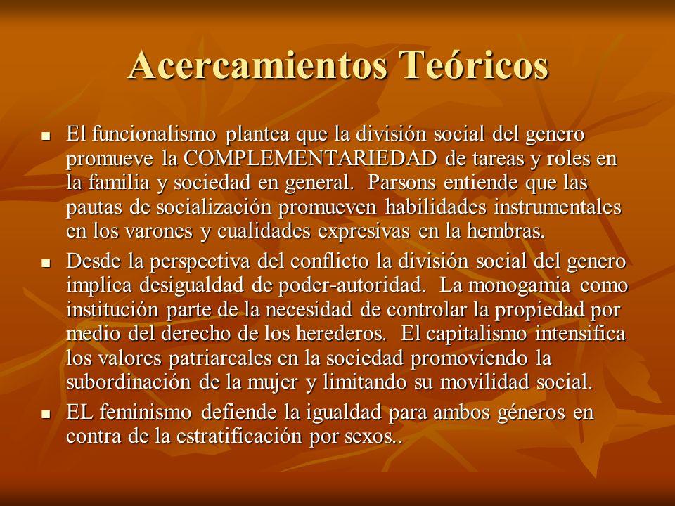 Acercamientos Teóricos El funcionalismo plantea que la división social del genero promueve la COMPLEMENTARIEDAD de tareas y roles en la familia y soci
