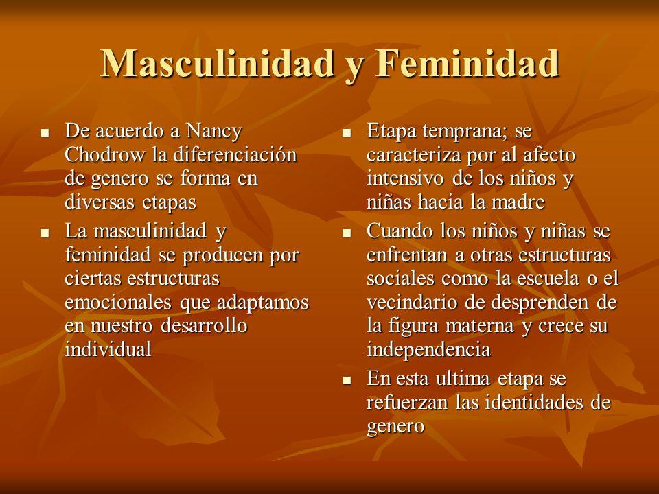 Masculinidad y Feminidad De acuerdo a Nancy Chodrow la diferenciación de genero se forma en diversas etapas De acuerdo a Nancy Chodrow la diferenciaci