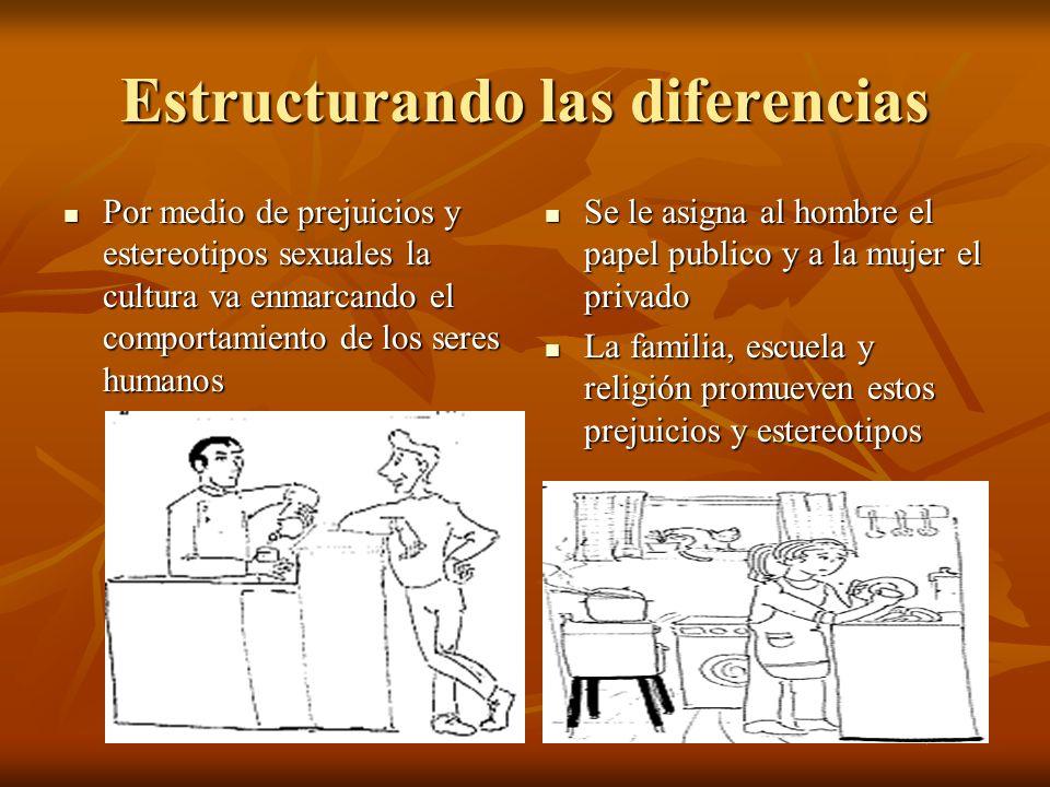 Estructurando las diferencias Por medio de prejuicios y estereotipos sexuales la cultura va enmarcando el comportamiento de los seres humanos Por medi