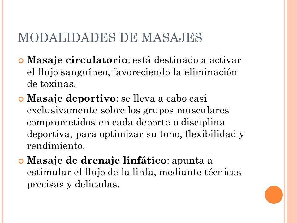 MODALIDADES DE MASAJES Masaje circulatorio : está destinado a activar el flujo sanguíneo, favoreciendo la eliminación de toxinas. Masaje deportivo : s