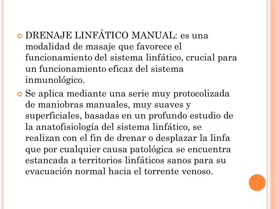 DRENAJE LINFÁTICO MANUAL: es una modalidad de masaje que favorece el funcionamiento del sistema linfático, crucial para un funcionamiento eficaz del s