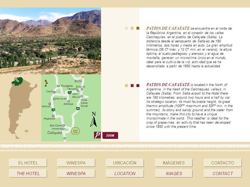 PATIOS DE CAFAYATE se encuentra en el norte de la República Argentina, en el corazón de los valles Calchaquíes, en el pueblo de Cafayate (Salta).