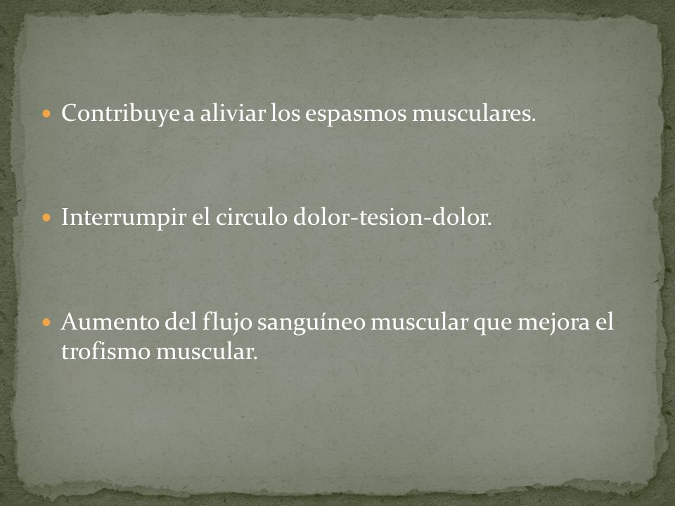 Los efectos del masaje clásico sobre el músculos se han relacionado con la relajación muscular, lo que se consigue mediante una disminución de la exci